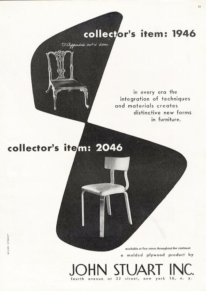 JOHN STUART Furniture CHAIR Ad   1946   Mid Century Modern #JohnStuartInc