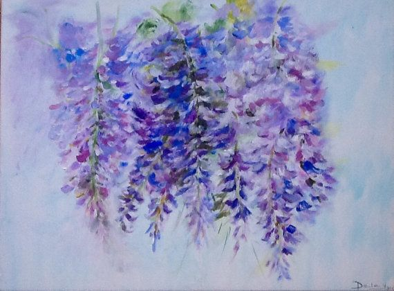 Tableau Acrylique Glycine Flowers Arts France Fleurs Etsy Art Painting Purple