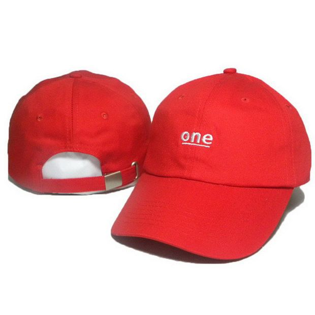Unisex ONE Letter Embroidery Baseball Cap Strapback Cotton Solid Red Women    Men Dad Hat 8288c4be75f