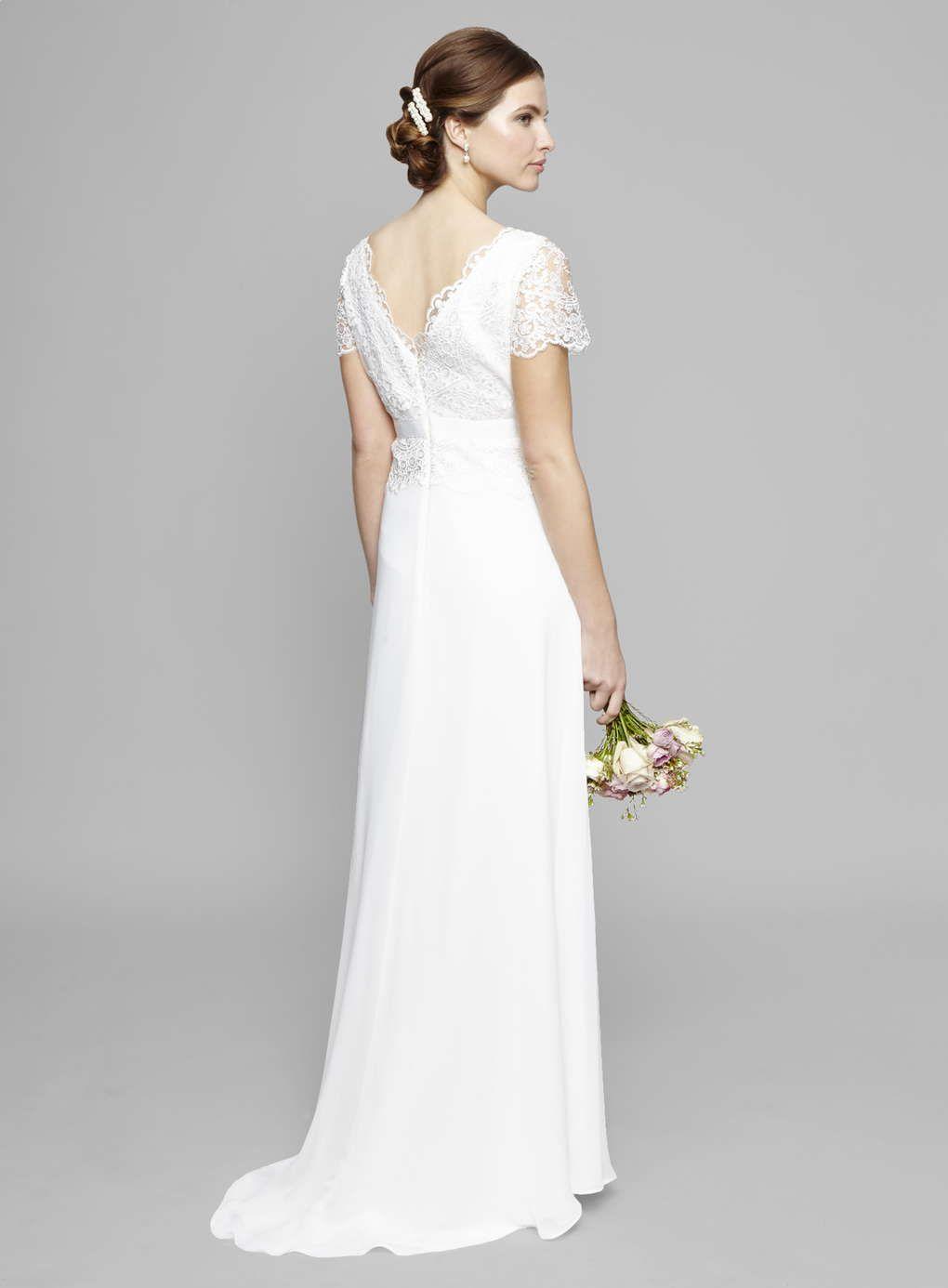 7ba4a7a6530 Ivory Willow Lace Peplum Wedding Dress