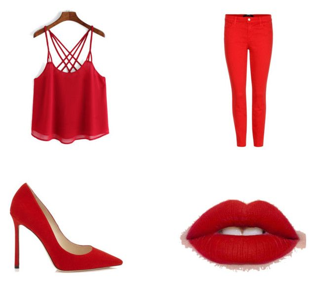 """""""red"""" by jadiealabamagirl-1 ❤ liked on Polyvore featuring J Brand"""