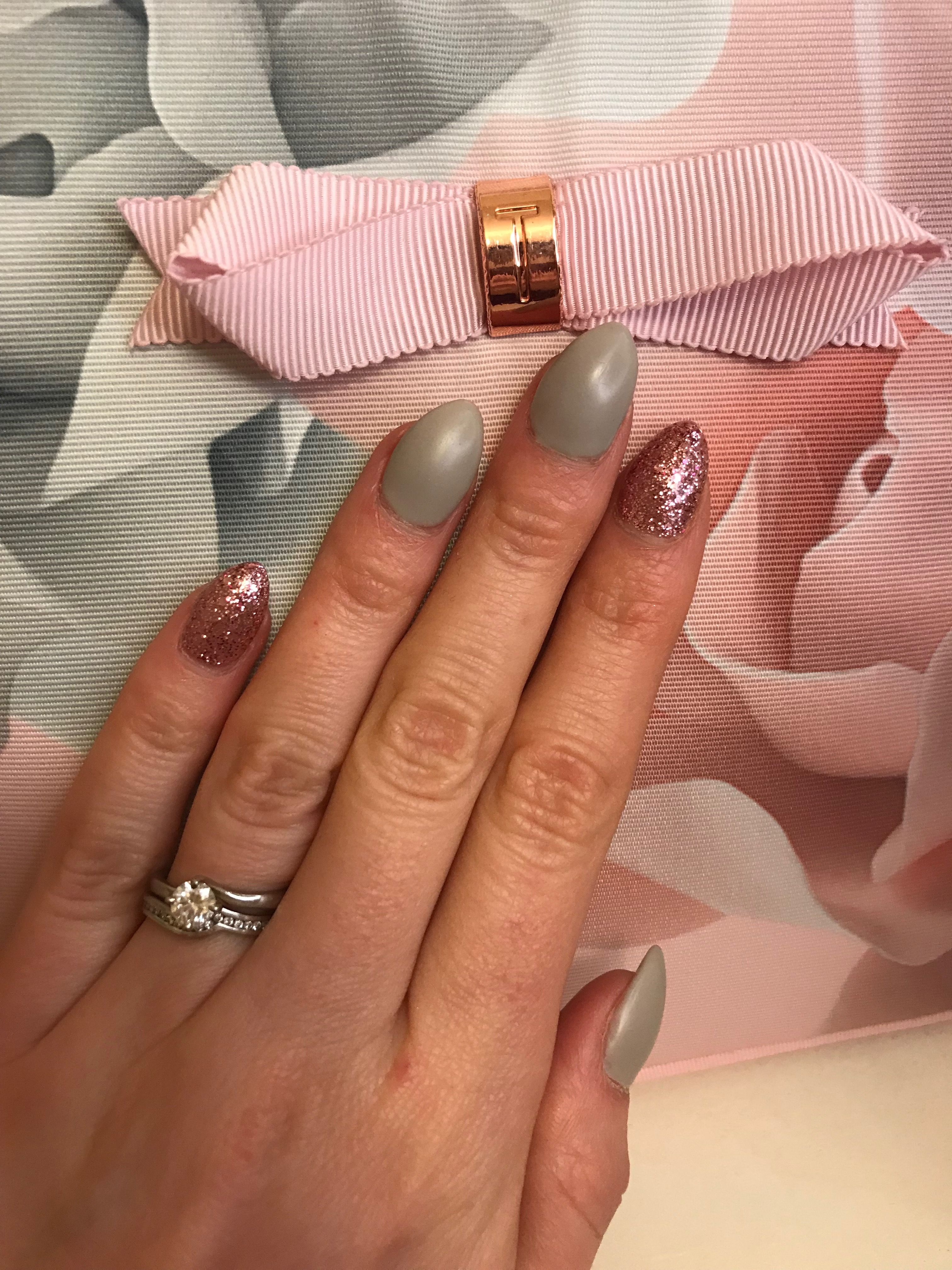 Ted Baker inspired nail colours... grey matte with pink glitter ...
