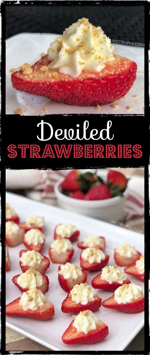 Photo of Fun and easy party food idea! ALWAYS a hit! Deviled Strawberries