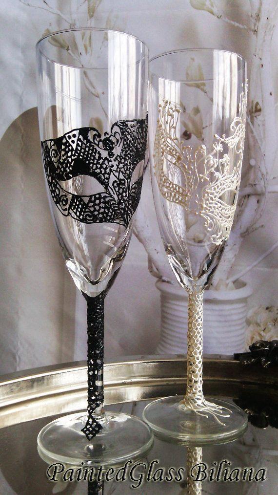 Wedding Glasses Champagne Flutes Set of 2 by PaintedGlassBiliana