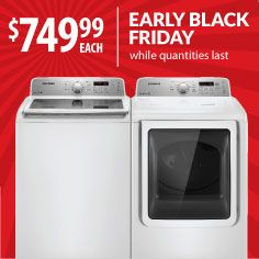 Save your back and your wallet with this HUGE 5.0 cubic foot high-efficiency top load washer & dryer pair from Samsung. We decided to start Black Friday early so you don't have to wait. Models: WA50F9A6DSW/DV50F9A6EVW gas extra