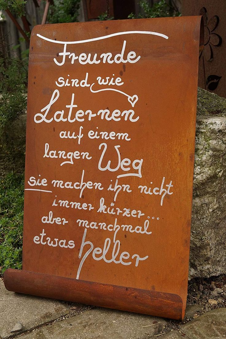 Edelrost Tafel Freunde Sind Wie Laternen Wandtaf...