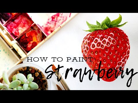Watercolor Strawberry   Step by Step Realistic Strawberry Watercolor   草莓水彩画法   수채화딸기