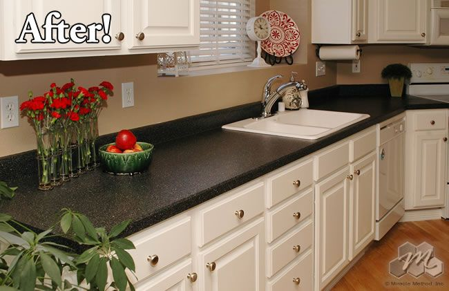 White cabinets with dark countertop. (With images ...