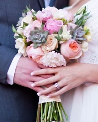 succulent peonies garden rose bridal bouquet flowers of the field las vegas - Garden Rose And Peony