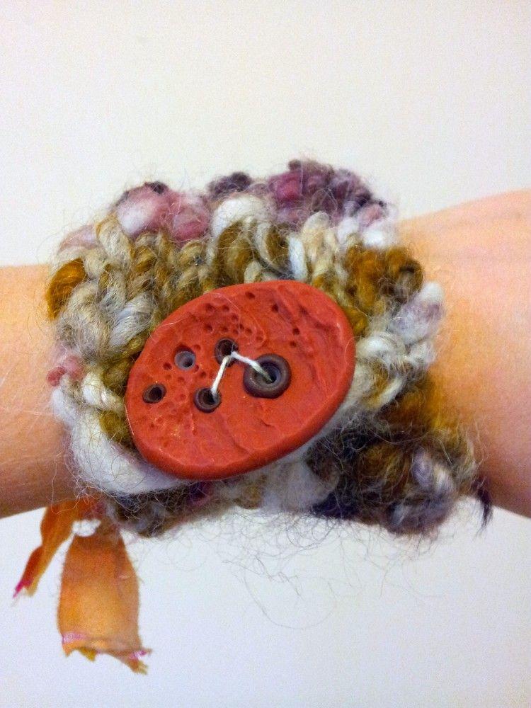 Knit Bracelet Cuff 3 by Neauveau Fiber Art and Handspun Yarn Shop