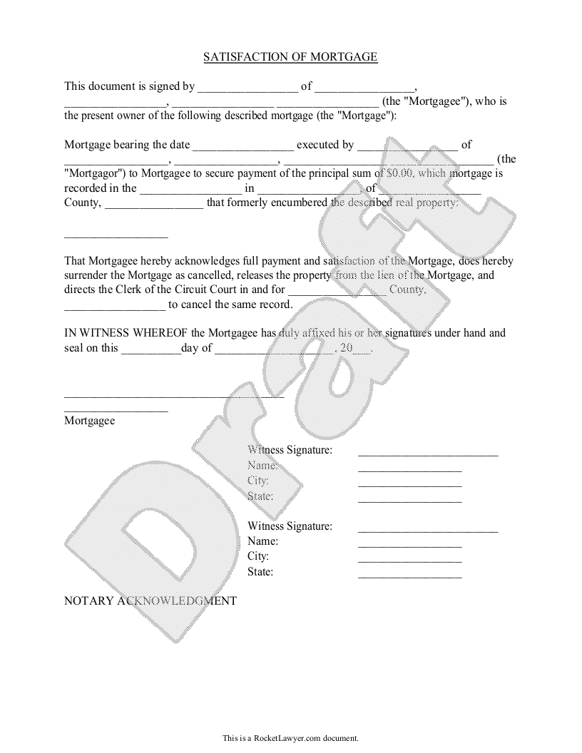 Sample Satisfaction of Mortgage Form Template – Release of Mortgage Form