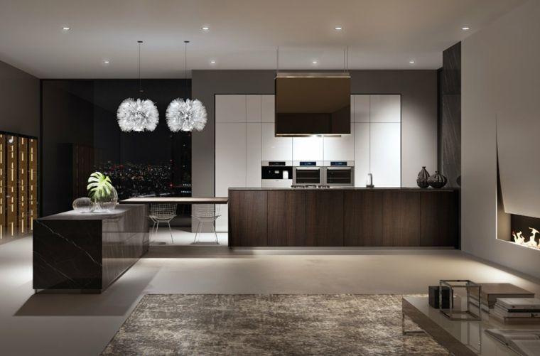 open space cucina a vista con mobili moderni e lineari, pareti e ...