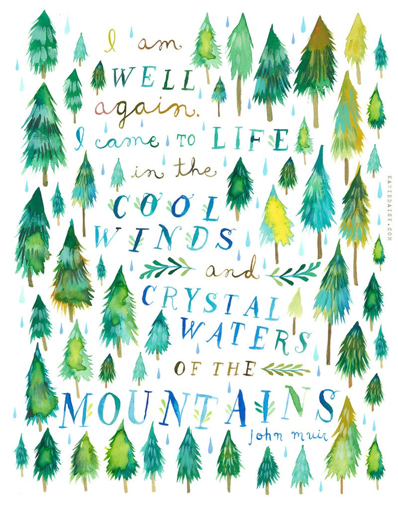 Crystal Waters Art Print   Forest Painting   Watercolor Wall Art   John Muir Quote   Katie Daisy    8x10 11x14