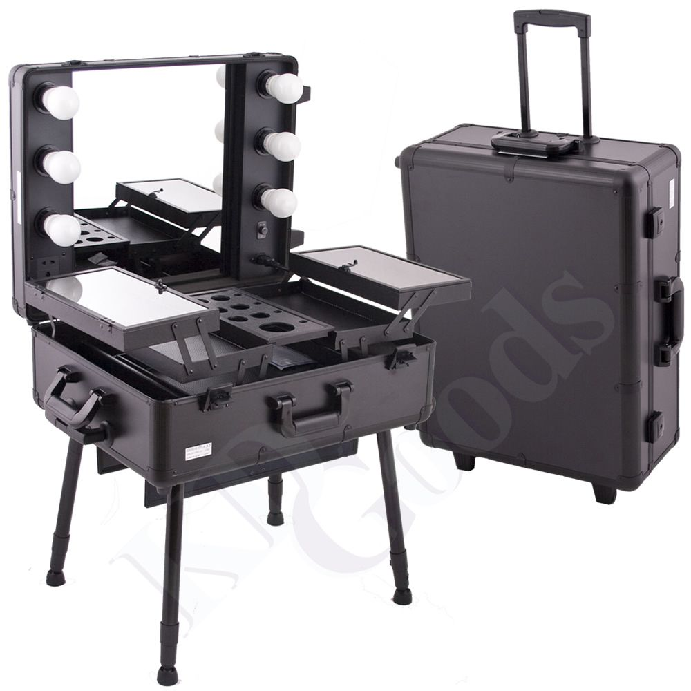 Makeup Cosmetic Studio Portable Rolling Station Case 6010bk Makeup