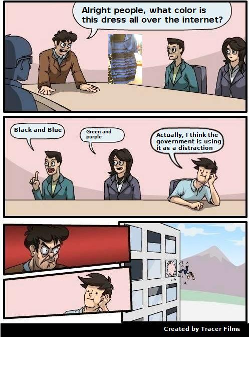 Black and blue dress debate meme