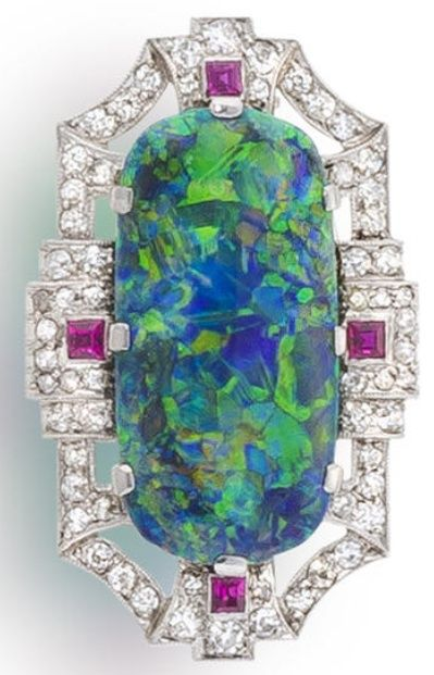 Late Art Deco Black Opal Diamond and Ruby Brooch.
