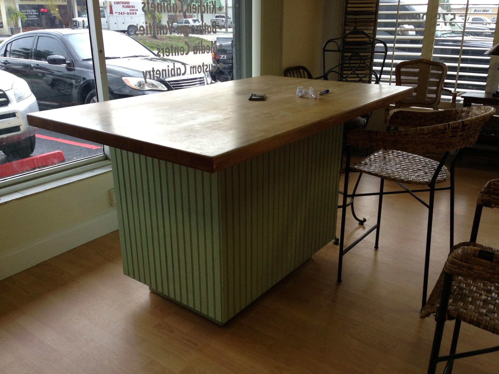 butcher block top and bead board cabinet for kitchen | FABI\'s ...
