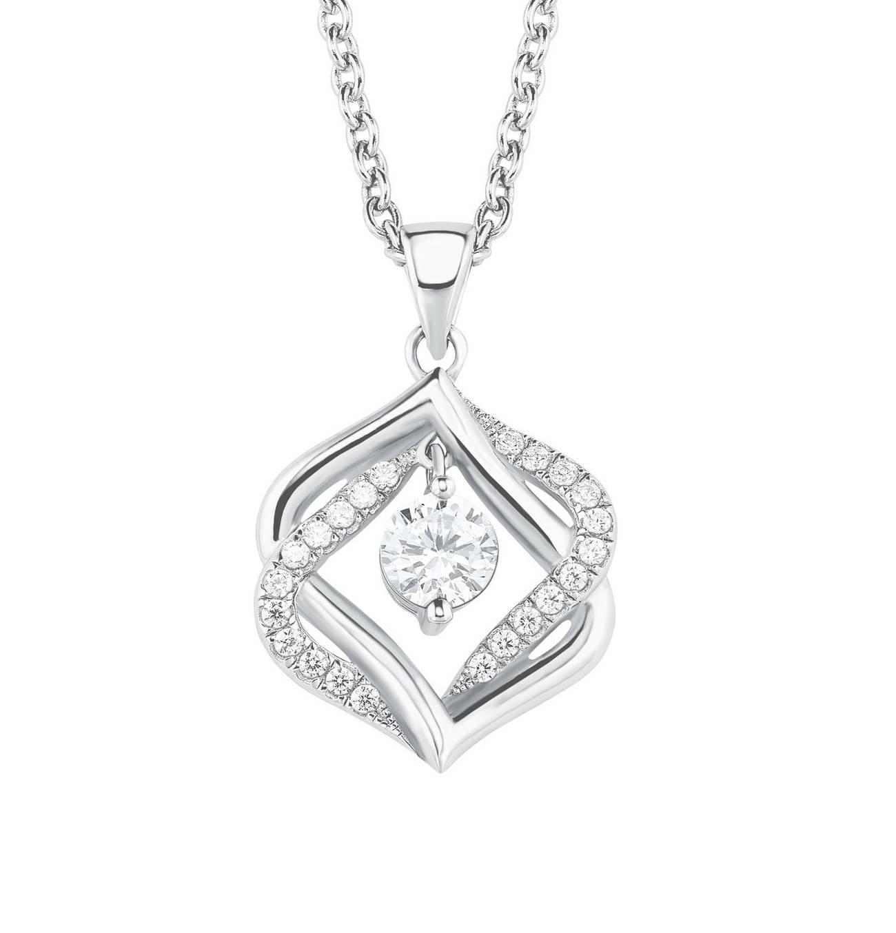 Damen Halskette mit Zirkonia rhodiniert, Sterling Silber 925