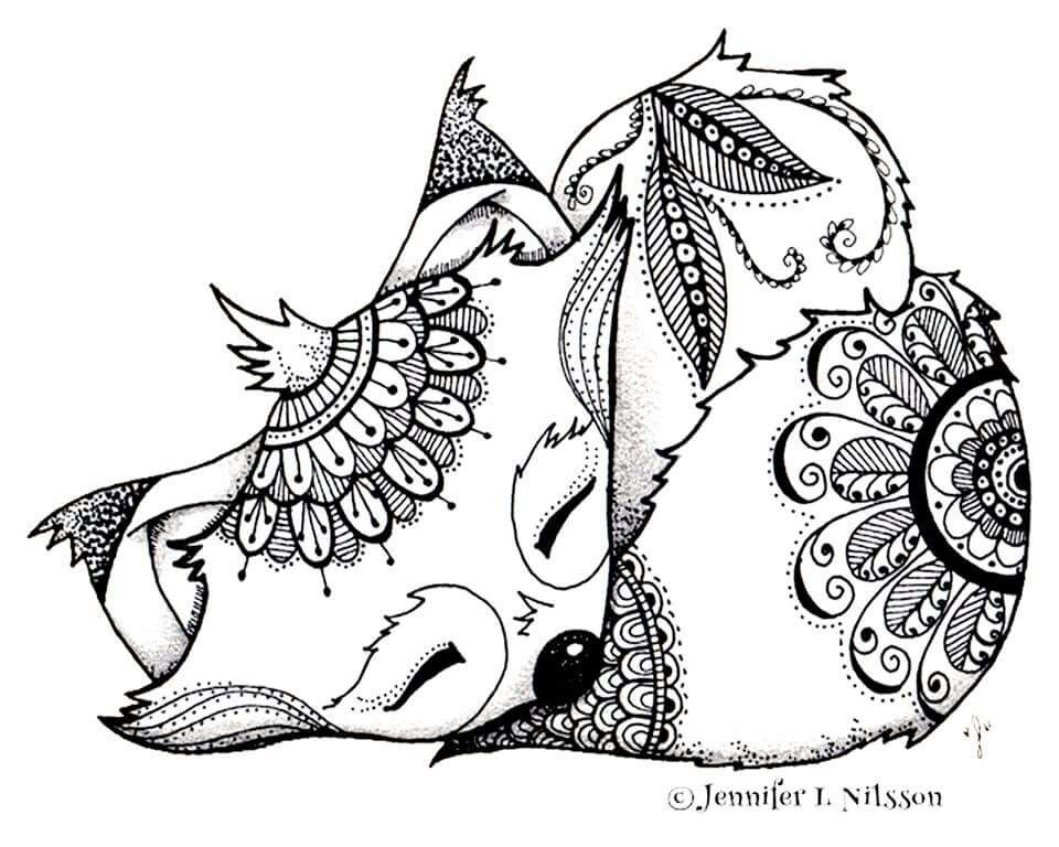 Fox coloring page | coloring | Pinterest | Foxes, Adult coloring and ...