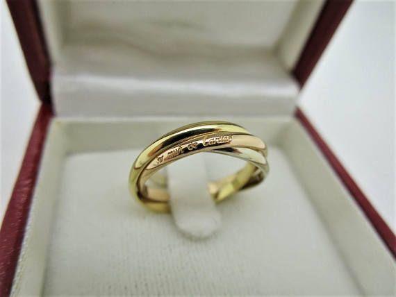 5b434f35e3 Size 5.5 ~ CARTIER XS TRINITY Ring ~ 18kt 3-Gold, Box & Certificate ...