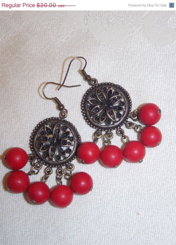 ON SALE Red Coral Chandelier Earrings   MISC   Pinterest   Red ...
