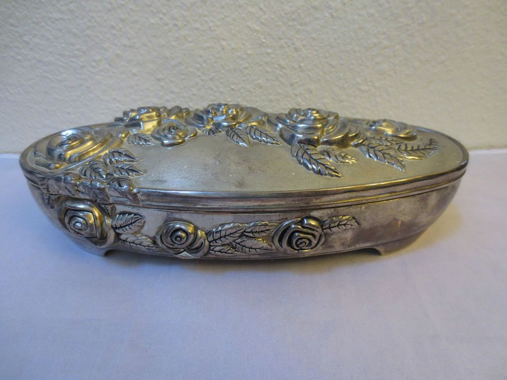 2999 Vintage GODINGER SILVER ART CO JEWELRY BOX SILVERPLATED