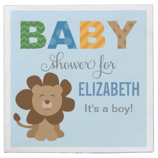 Baby Shower Napkins | Lion Jungle Animal  Personalized Disposable Paper Napkins