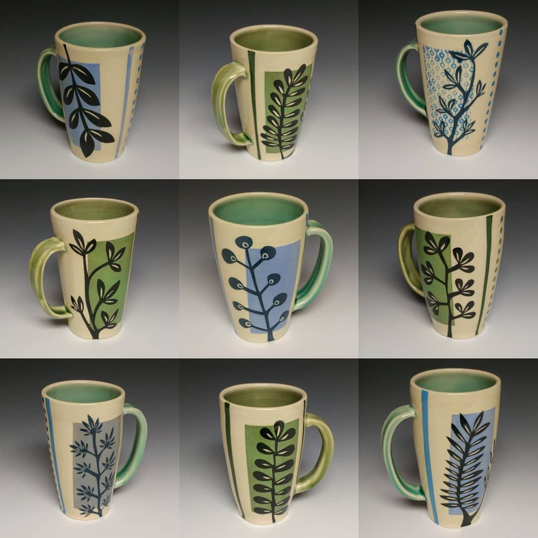 Some Favorite Pint Sized Mugs From My Recent Glaze Firing Spring Is In The Air Mugs Mumblers Coffee Tea Clay Mugs Pottery Mugs Ceramic Decor