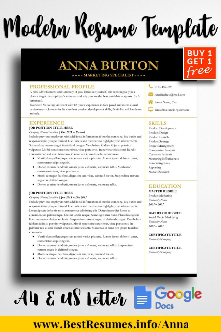 Pin on Resume Templates for Google Docs