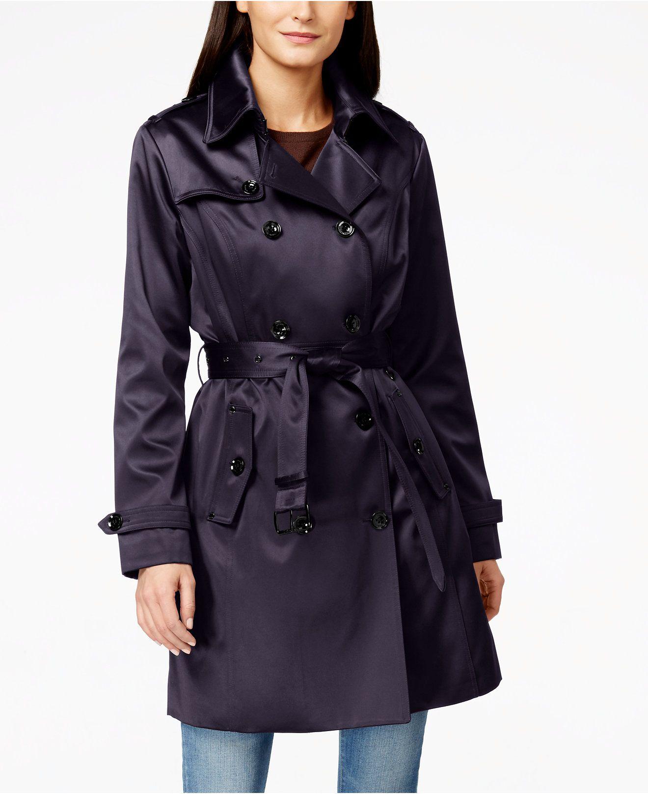 Michael Michael Kors Satin Trench Coat Coats Women Macy S Michael Kors Coats Petite Trench Coat Trench Coat [ 1616 x 1320 Pixel ]