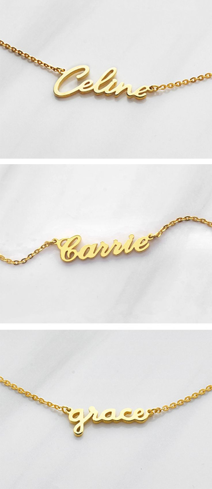 Gold name necklace goldplated name necklace silver name necklace