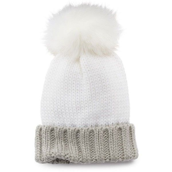 Apt. 9® Two-Tone Pom-Pom Beanie ($14) ❤ liked on Polyvore featuring ...