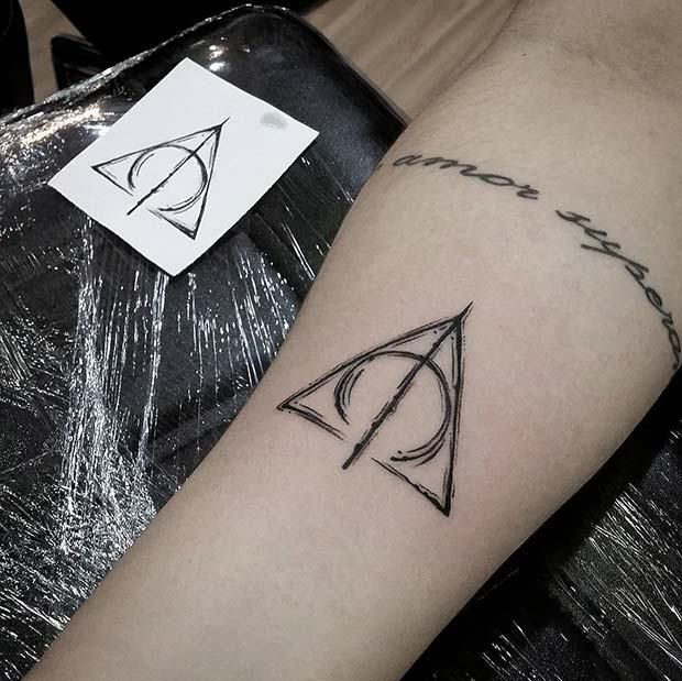 25 Cool and Magical Harry Potter - Inspired Tattoos: #2. DEATHLY HALLOWS SYMBOL IDEA; #harrypottertattoo; #tattoos