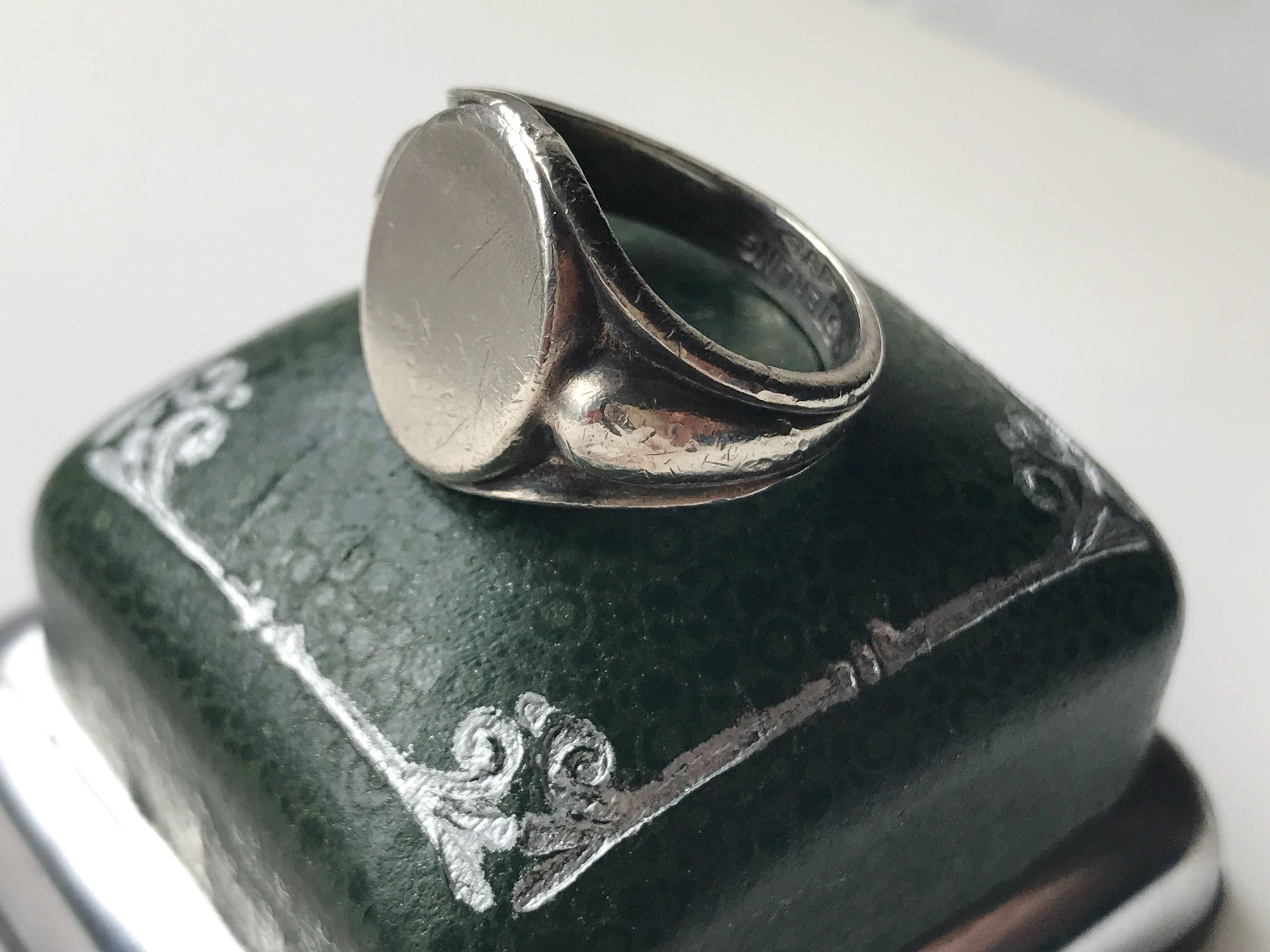 RARE RING SILVER Vintage size 8 signet Agat stone Jewelry sterling