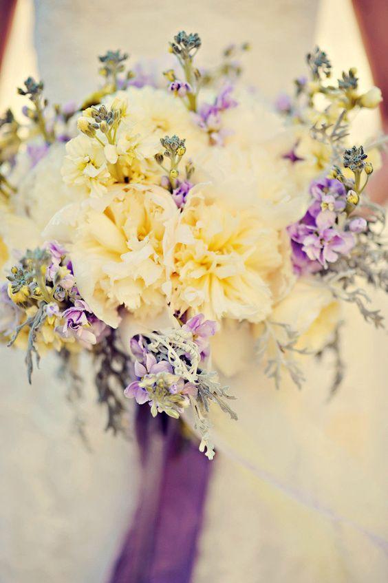 Bridal Bouquet In Lavender Purple And Yellow Lavendar Wedding