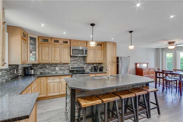 Beautiful Stone Backsplash And Granite Centre Island. Kitchen Photos. Kitchen  Ideas.