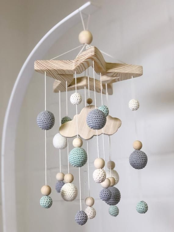 Baby Mobile - Nursery Mobile - Mobile with Nursery Mobile - Grey Baby Mobile Cloud - Nursery Mobile Cloud - Baby Cot Mobile