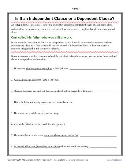 Worksheets Independent And Subordinate Clauses Worksheet is it an independent clause or a dependent worksheet activity can your student tell from