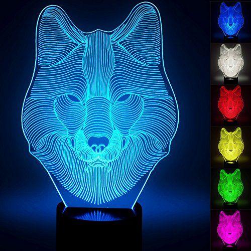 3d Wolf Lamp Optical Illusion Night Light For Nursery Mood Lighting Bedroom Optical Illusions Night Light