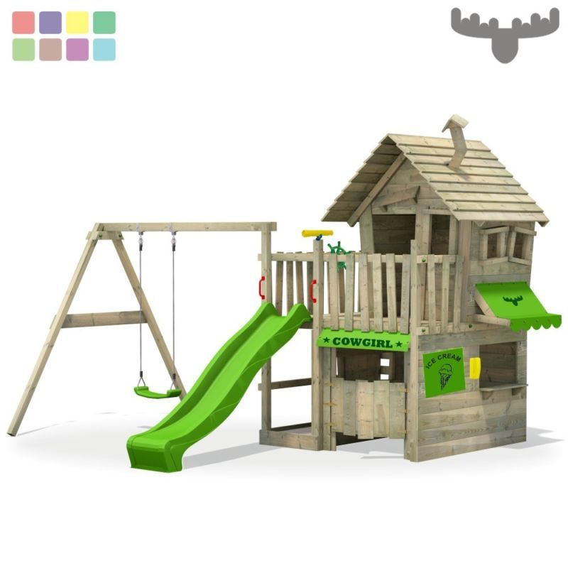 details zu fatmoose countrycow maxi xxl spielturm kletterturm schaukel baumhaus spielhaus backyard. Black Bedroom Furniture Sets. Home Design Ideas