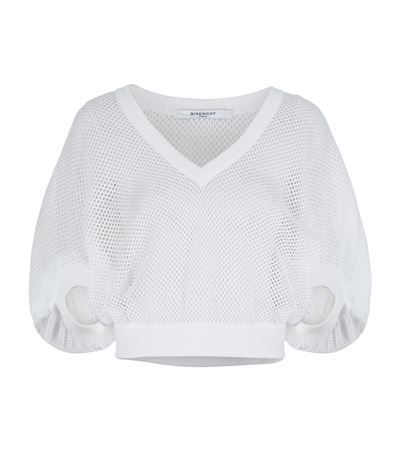 GIVENCHY Cropped Mesh Sweater. #givenchy #cloth #
