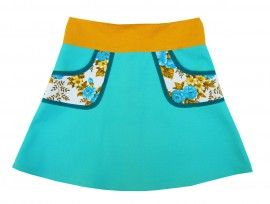 blue hipskirt with vintage pockets, size 134/9Y