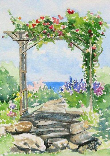 Pergola In Bloom Maine Garden Painting Downeast Watercolors Garden Painting Garden Watercolor Watercolor Illustration