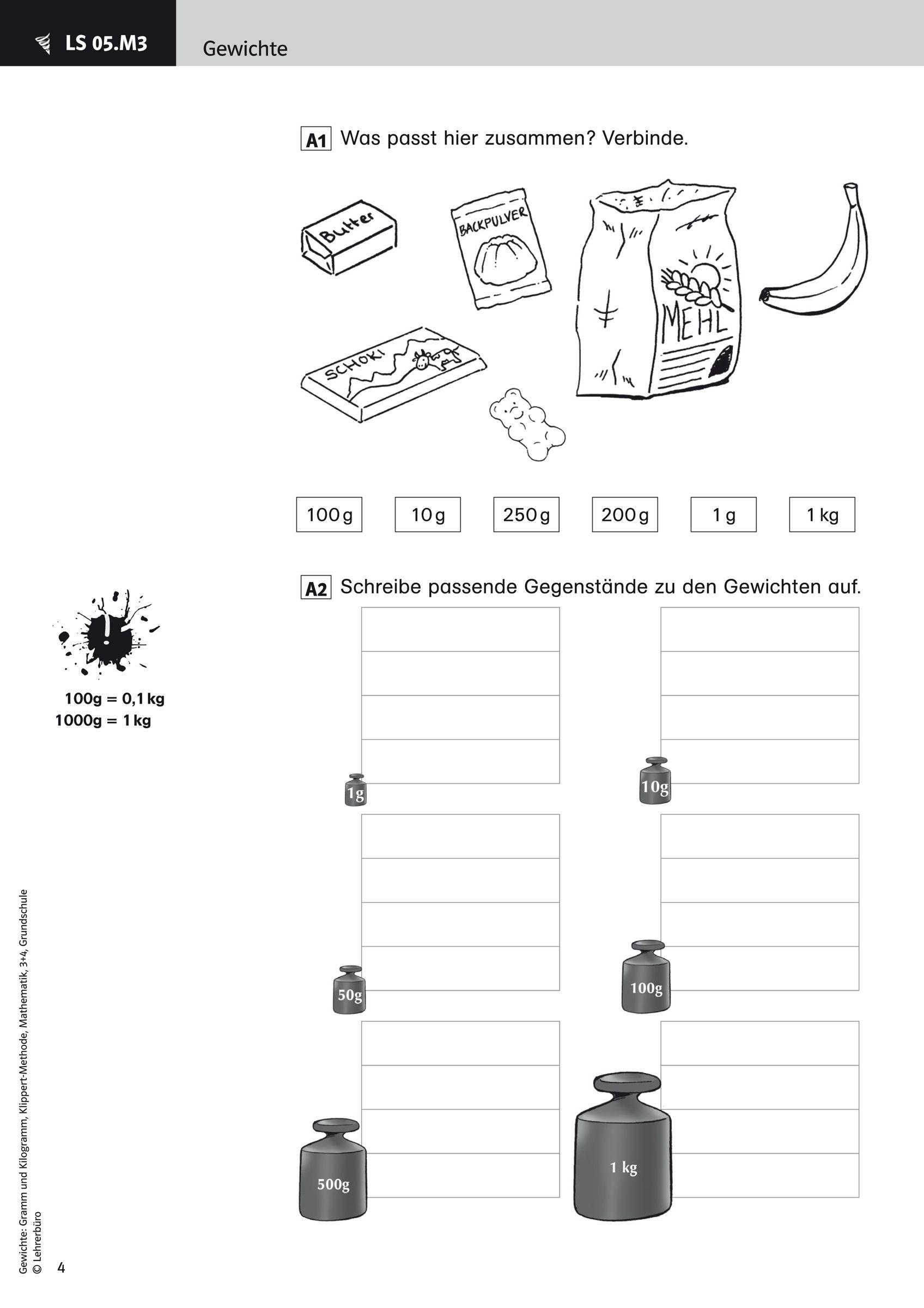 16 Arbeitsblatt 3 Klasse Gewichte