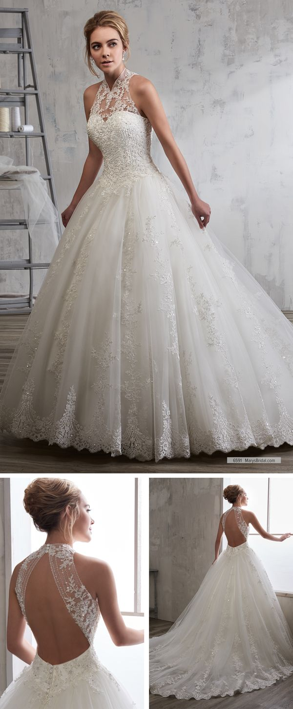 Mary S Bridal Style 6591 Tulle And Re Embroidered Lace Bridal Ball Gown With Halter High Neck Ope High Neck Wedding Dress Wedding Dresses Ball Gowns Wedding
