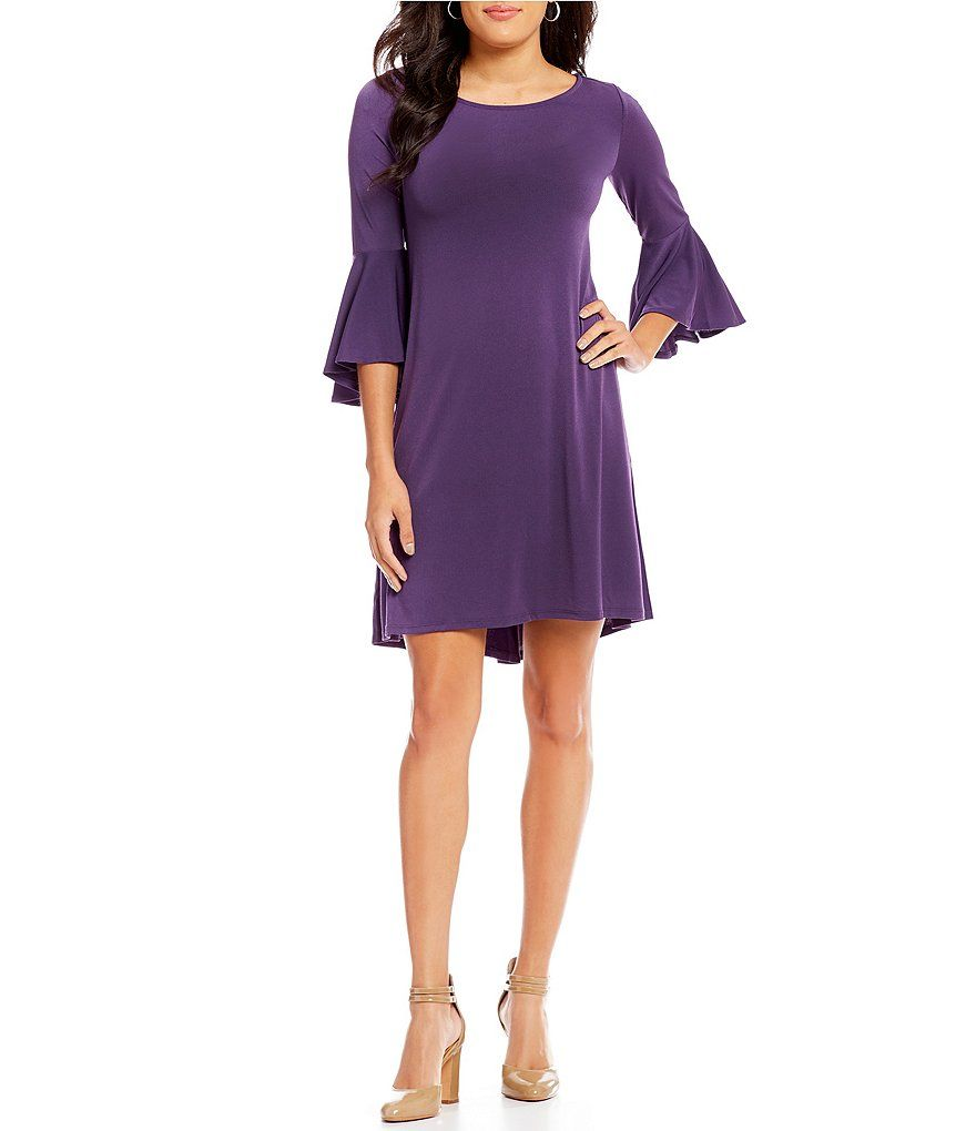 Jones New York Knit Crepe Bell Sleeve A-Line Dress in Very Violet at ...