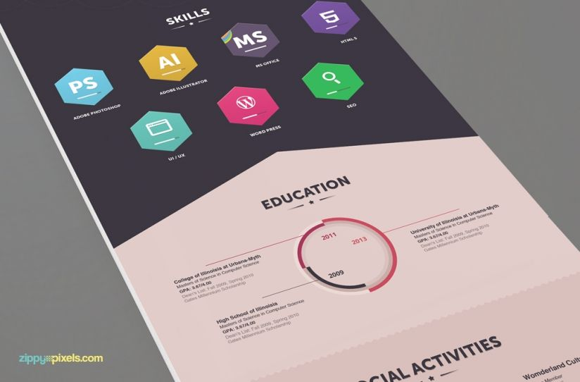 Infographic Resume & Cover Letter - Creative Psd Resume Templates