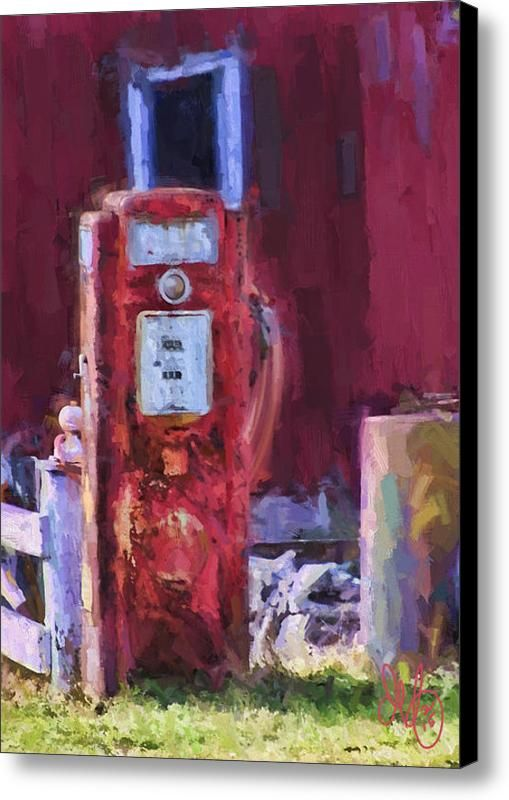 Gas Pump At Barn Canvas Print / Canvas Art By David Francey