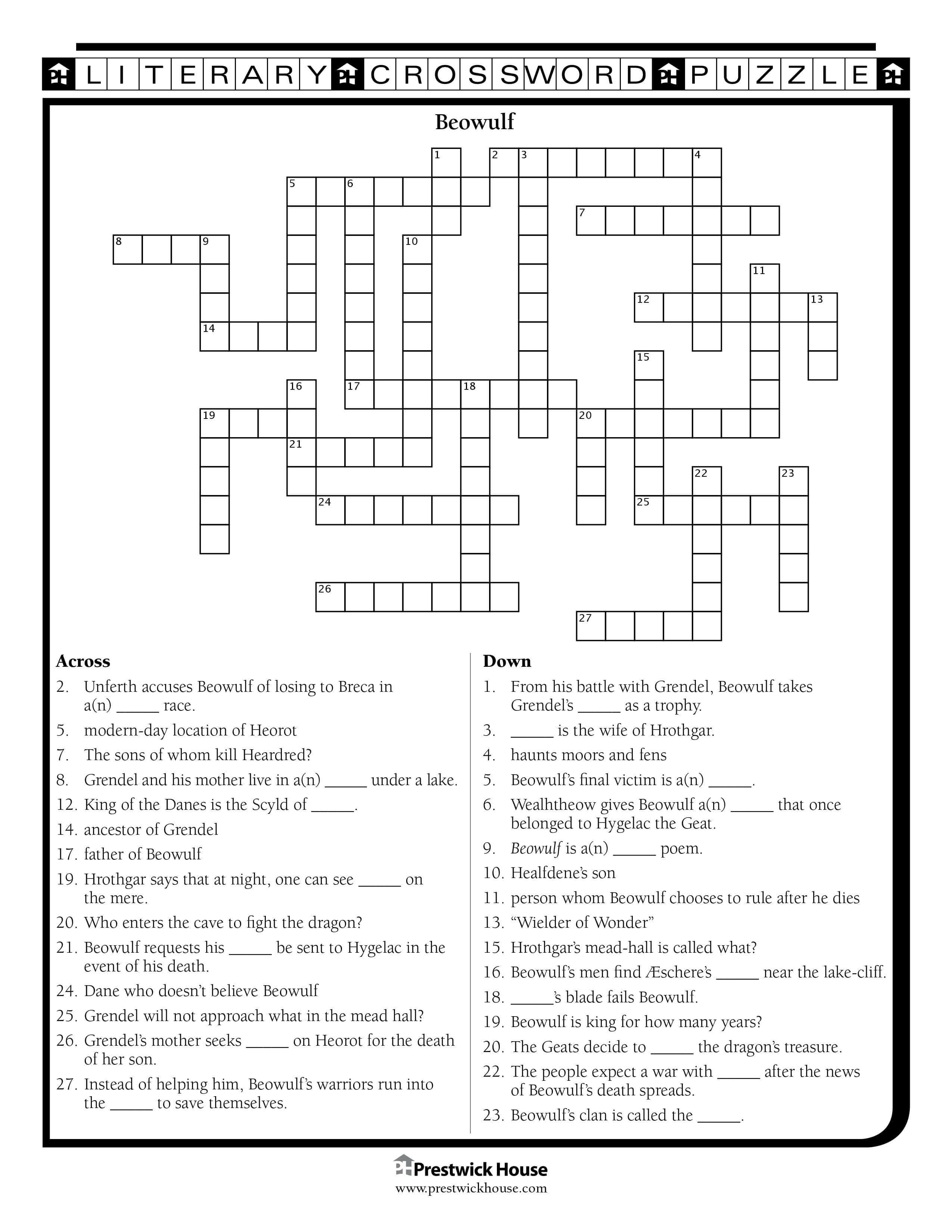 Beowulf Free Crossword Puzzle Teacher Lesson Plans Crossword