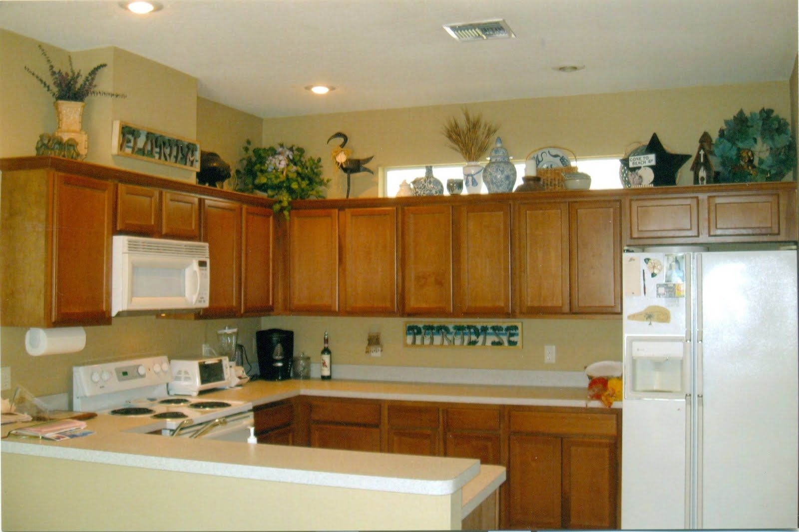 simple decorating above kitchen cabinets   Google Search ...